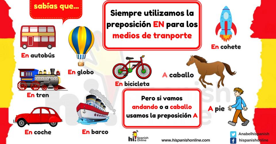 Las preposiciones A y En para los medios de transporte en español
